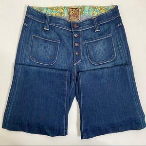 Rich & Skinny Flare Button Dark Wash Jeans
